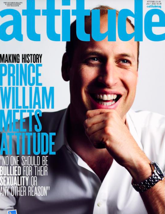 <p>In June 2016 Prince William made history by becoming the first member of the Royal Family to be photographed for the cover of a gay magazine. In the accompanying interview he stated he didn't think anyone should be bullied because of their sexuality. [Photo: Attitude] </p>