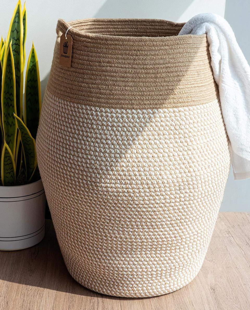 """<h3>Cotton & Jute Rope Basket</h3><br>Another breezy home good that screams, """"welcome to my bungalow"""" — this basket is crafted from 100% cotton rope and jute, and can be purposed into chic storage (for those your new throw pillows or snake plant). <br><br><strong>Goodpick</strong> Large Woven Cotton & Jute Rope Basket, $, available at <a href=""""https://amzn.to/3pYazUr"""" rel=""""nofollow noopener"""" target=""""_blank"""" data-ylk=""""slk:Amazon"""" class=""""link rapid-noclick-resp"""">Amazon</a>"""