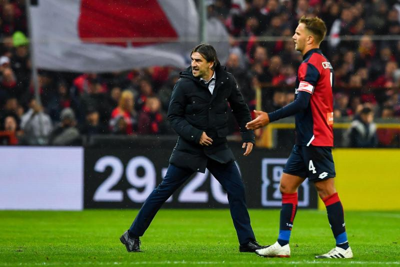 FILE - In this Nov. 25, 2018 file photo, Genoa's Croatian coach Ivan Juric, left, walks off the pitch after being sent off during the Serie A soccer match between Genoa and Sampdoria at the Luigi Ferraris Stadium in Genoa, Italy. Genoa announced on Friday, Dec. 7, 2018 that it has appointed former Italy manager Cesare Prandelli as its new coach, replacing Ivan Juric, who was sacked by the club for a third time following bad results. (Simone Arveda/ANSA via AP, file)