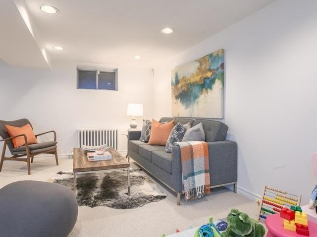 """<p><a href=""""https://www.zoocasa.com/toronto-on-real-estate/5105224-224-browning-ave-toronto-on-m4k1x2-e4051817"""" rel=""""nofollow noopener"""" target=""""_blank"""" data-ylk=""""slk:224 Browning Ave., Toronto, Ont."""" class=""""link rapid-noclick-resp"""">224 Browning Ave., Toronto, Ont.</a><br> The finished basement has new carpeting and a separate entrance.<br> (Photo: Zoocasa) </p>"""