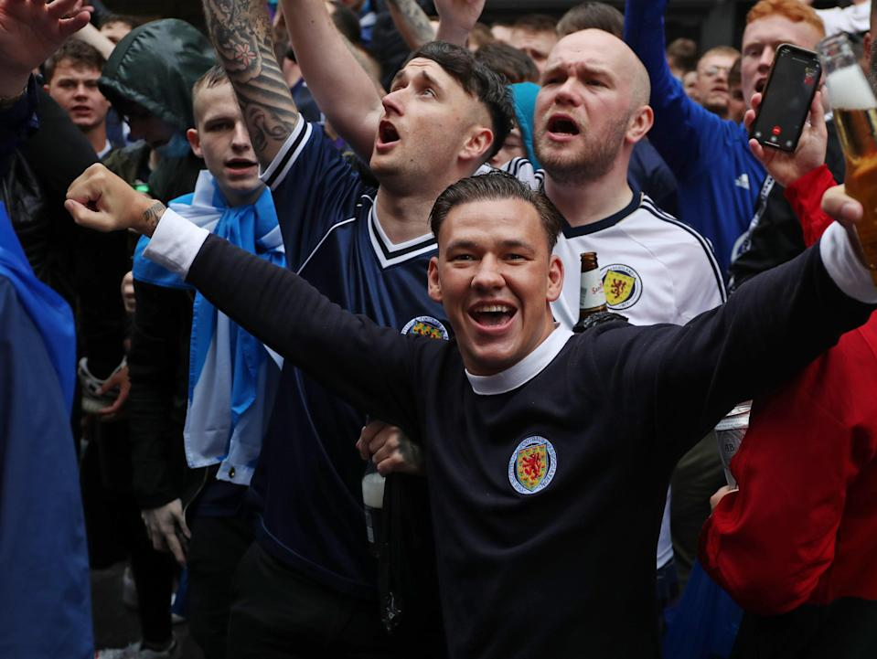 Scotland fans gather in Leicester Square before England vs Scotland match at Euro 2020 (PA)