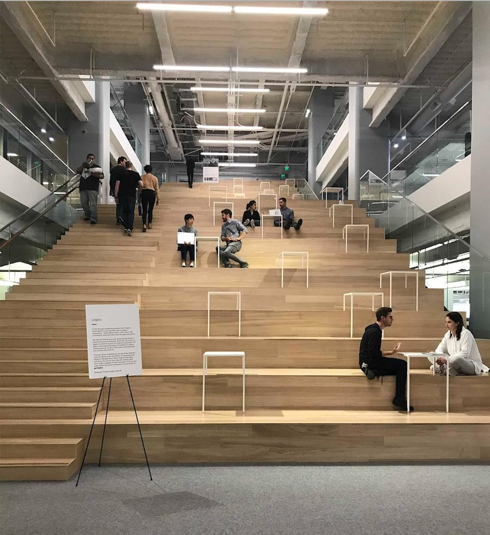 Square employees hang out on this giant staircase inside headquarters on Market Street in San Francisco. (Daniel Roberts/Yahoo Finance)