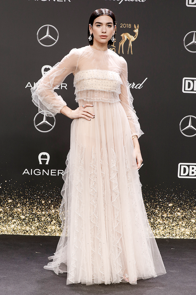 <p>Yep, Dua loves a colour pop but she can also rock more muted looks, like this romantic Valentino gown, worn to the 2018 Bambi Awards.</p>