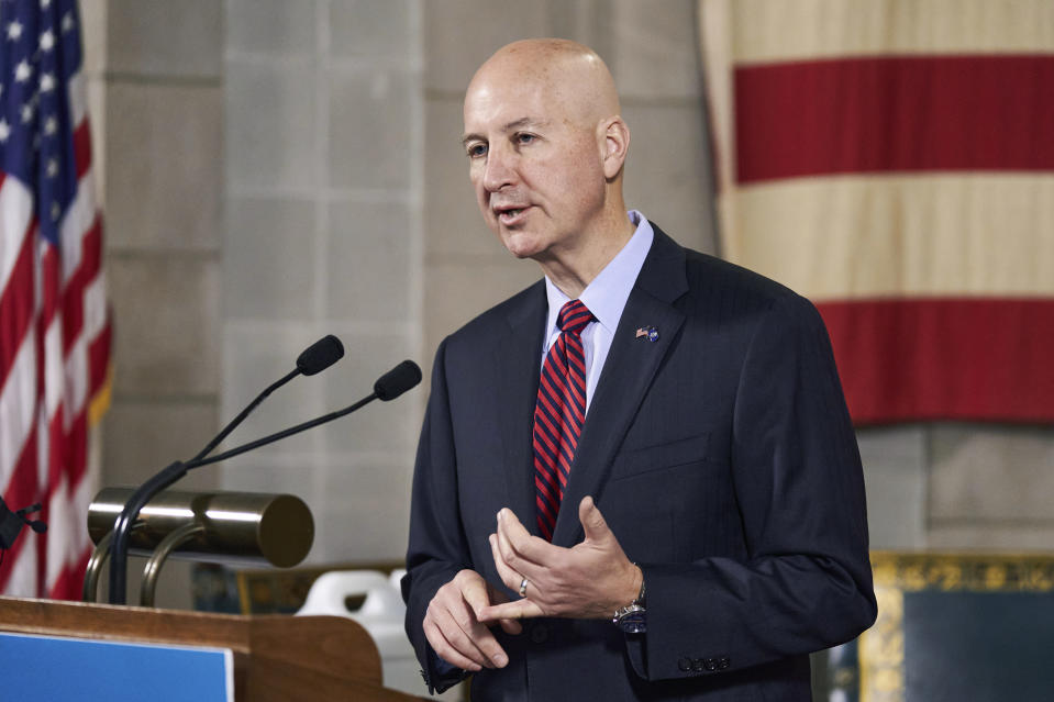 Nebraska Gov. Pete Ricketts speaks during a news conference in Lincoln, Neb., Wednesday, Sept. 30, 2020. Nebraska will officially offer expanded Medicaid coverage to low-income people starting Thursday after years of political battles in the Legislature, a statewide ballot campaign to force the issue and a nearly two-year rollout that left some residents in healthcare limbo. (AP Photo/Nati Harnik)