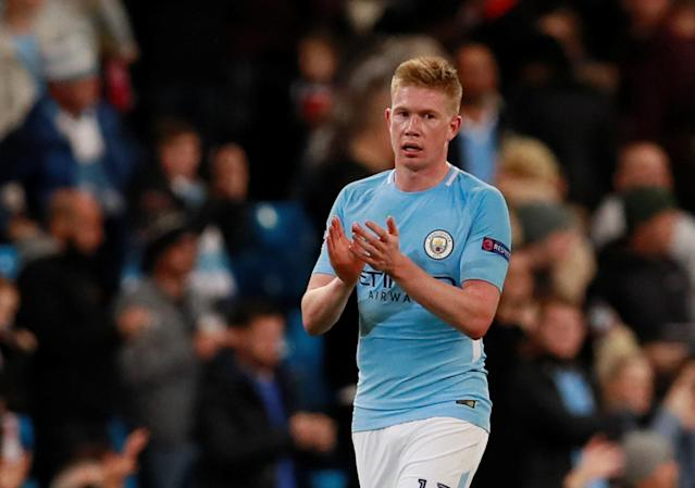 Manchester City's Kevin De Bruyne applauds fans after the match Action Images via Reuters/Jason Cairnduff