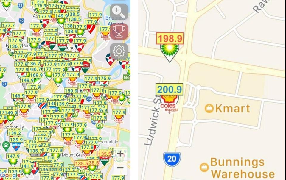 The app allows you to compare prices to other petrol stations in your area.