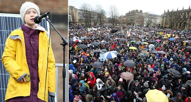 Greta Thunberg addressed protestors at the Bristol Youth 4 Climate march on Friday. (PA/SWNS)