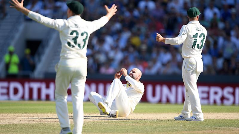 Nathan Lyon, pictured here after having his lbw shout turned down.