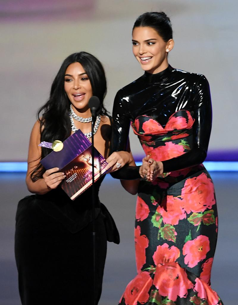 Kim Kardashian West and Kendall Jenner speak onstage during the 71st Emmy Awards at Microsoft Theater on September 22, 2019 in Los Angeles, California.