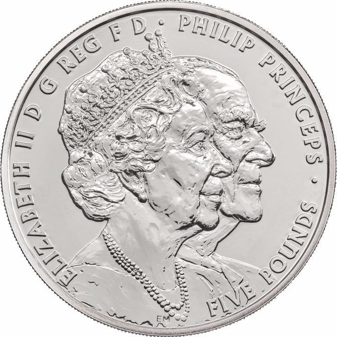 The new £5 coin to mark the Queen and Prince Philip's 70th wedding anniversary (Royal Mint/PA)