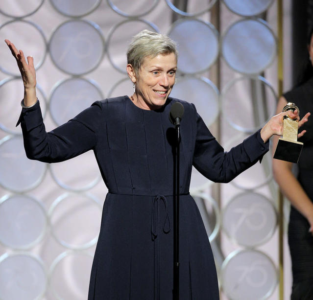 Frances McDormand accepts the award for Best Performance by an Actress in a Motion Picture — Drama. (Photo: Paul Drinkwater/NBCUniversal via Getty Images)