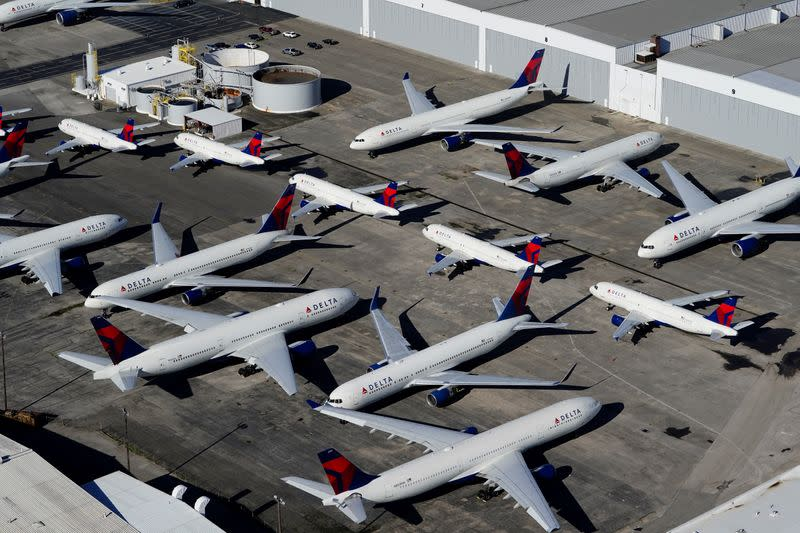 FILE PHOTO: Delta Air Lines passenger planes parked in Birmingham, Alabama