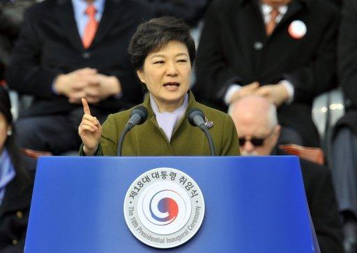 Park Geun-Hye speaks during her presidential inauguration ceremony in Seoul on February 25, 2013
