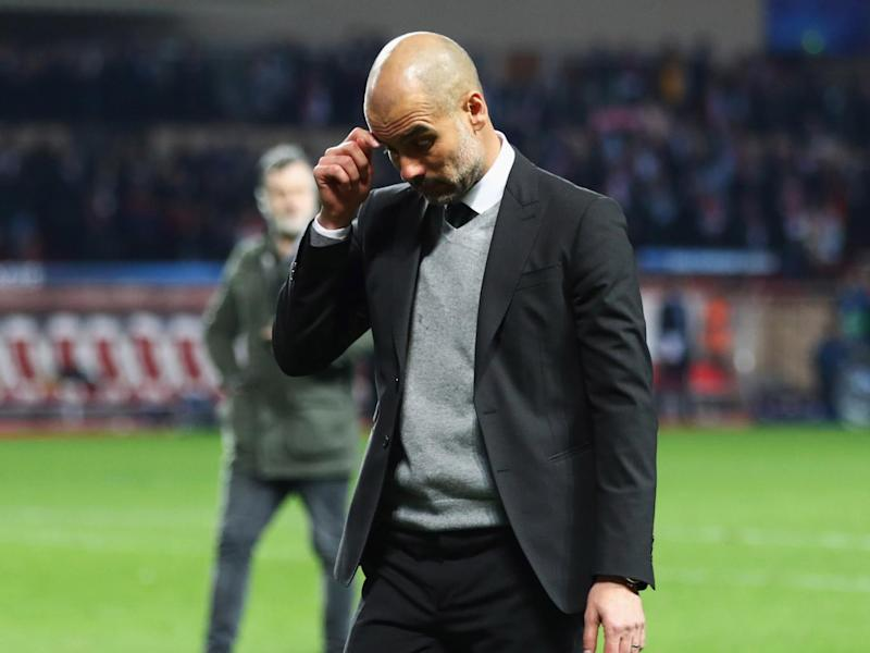Guardiola was furious with his players after their Champions League exit in Monaco (Getty)