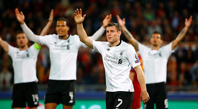 <p>Soccer Football – Champions League Semi Final Second Leg – AS Roma v Liverpool – Stadio Olimpico, Rome, Italy – May 2, 2018 Liverpool's James Milner and team mates react REUTERS/Tony Gentile </p>