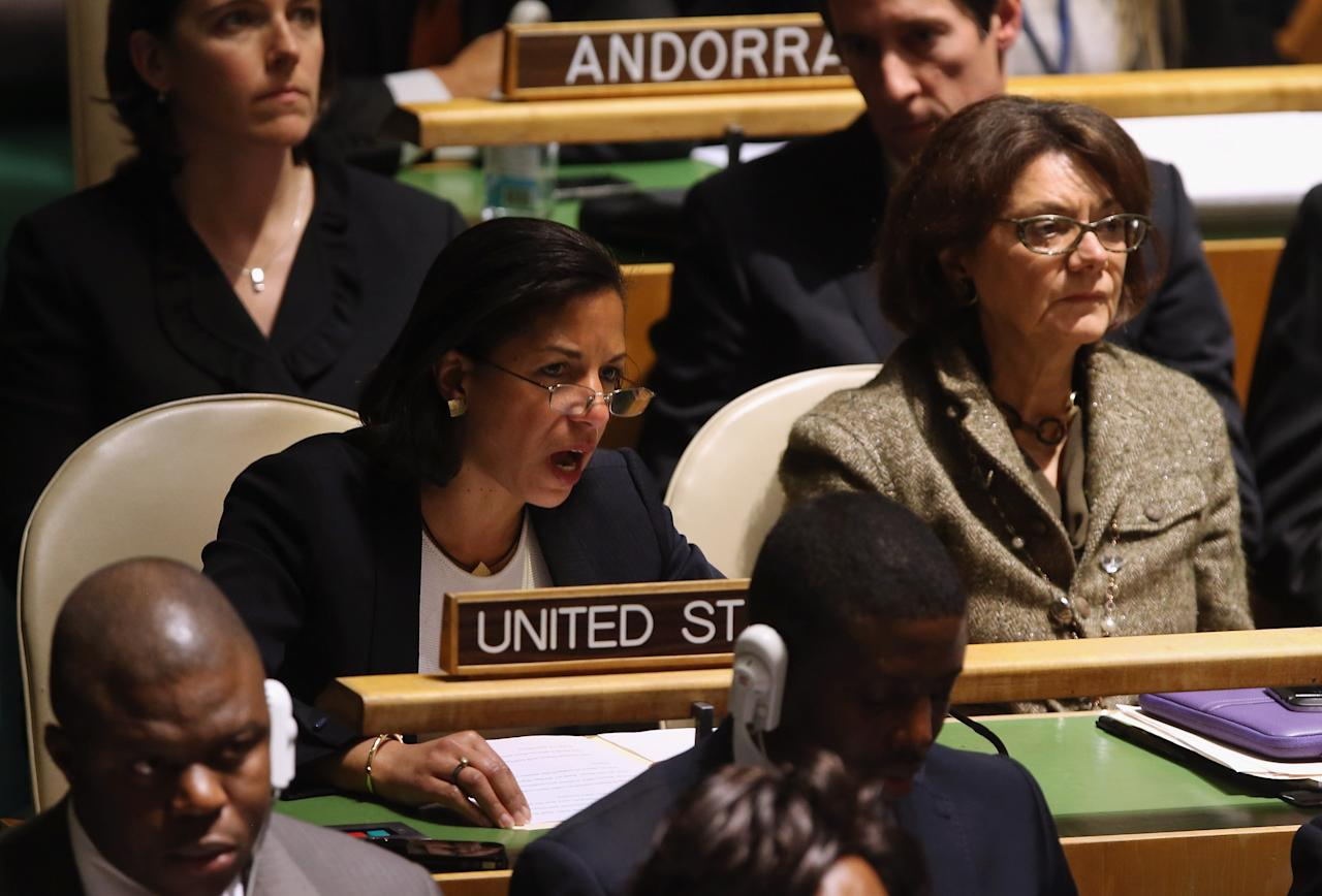 NEW YORK, NY - NOVEMBER 29:  U.S. Ambassador to the United Nations Susan Rice explains the U.S. position opposing a resolution on Palestinians at a meeting of the General Assembly on November 29, 2012 in New York City. The United States, Israel, Canada and a handful of others voted against today's historic resolution granting non-member observer status to Palestinians. The resolution was approved by the 193-member body by a vote of 138-9, with 41 abstentions.  (Photo by John Moore/Getty Images)