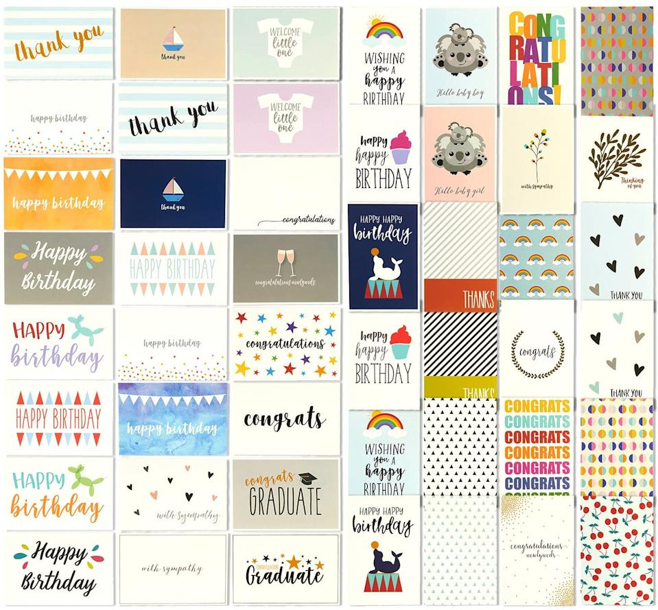 "<strong><h2>Best Paper 48 All-Occasion Greeting Cards</h2></strong><br>For every birthday, wedding announcement, baby shower, and special occasion: this Best Paper's pack-of-48 greeting cards has you covered. The best part? You won't need to do a greeting-card restock again for another year! <br><br><br><strong>Best Paper Greetings</strong> 48 All Occasion Greeting Cards, $, available at <a href=""https://www.amazon.com/All-Occasion-Greeting-Cards-Envelopes/dp/B01MT1UVTI/ref=zg_bsms_office-products_8"" rel=""nofollow noopener"" target=""_blank"" data-ylk=""slk:Amazon"" class=""link rapid-noclick-resp"">Amazon</a>"