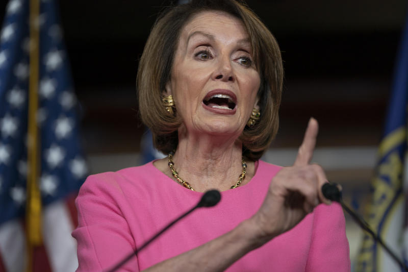 Speaker of the House Nancy Pelosi, D-Calif., meets with reporters at the Capitol in Washington, Thursday, May 23, 2019.  (AP Photo/J. Scott Applewhite)