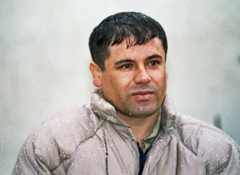"""FILE - In this June 10, 1993 file photo, Joaquin Guzman Loera, alias """"El Chapo"""" Guzman, is shown to the media after his arrest at the high security prison of Almoloya de Juarez, on the outskirts of Mexico City. Joaquin Guzman spent months corrupting his guards at a Mexican prison, then tricked them into thinking they would get a cut of some gold being smuggled out of the prison the night of Jan. 19, 2001. Instead, he smuggled himself out on a laundry cart with the help of a maintenance worker on his payroll. (AP Photo/Damian Dovarganes, File)"""