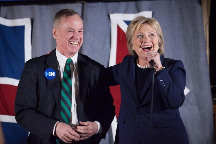 Hillary Clinton and Howard Dean campaigning in the lead-up to the New Hampshire primary. (Photo: Matthew Cavanaugh/Getty Images)
