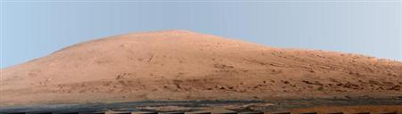 Mount Sharp, on Mars is pictured in this panorama made from a mosaic of images taken by the Mast Camera (Mastcam) on NASA's Mars rover Curiosity released as a NASA handout image