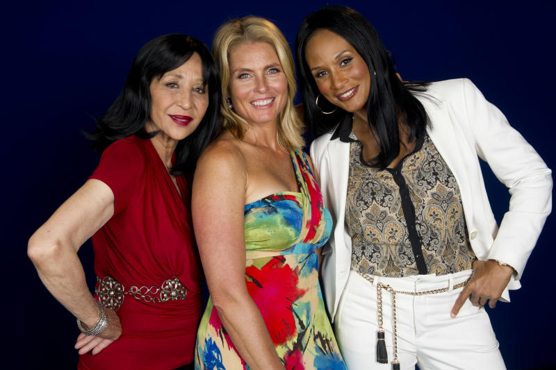 "This July 18, 2012 photo shows models China Machado, lfrom left, Kim Alexis and Beverly Johnson in New York. The models appear in a new documentary called ""About Face"" premiering on HBO on July 30. The film looks at topics like each model's career, aging and our culture's obsession with youth. (Photo by Charles Sykes/Invision/AP)"