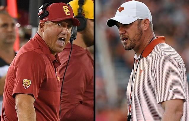 USC's Clay Helton and Texas' Tom Herman will meet for the second time in as many years Saturday. (AP/Getty)
