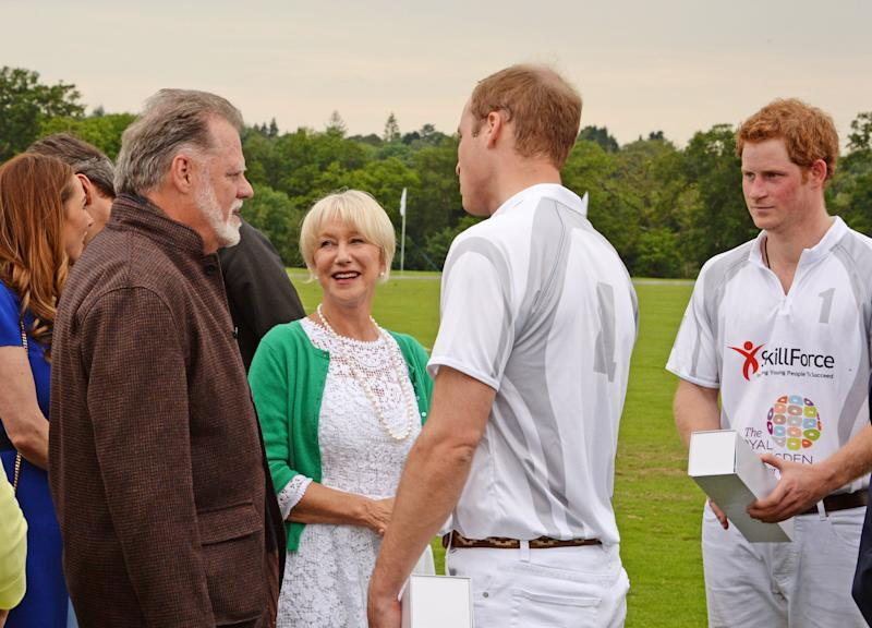 Taylor Hackford, Dame Helen Mirren and Princes William and Harry at the Audi Polo Challenge on May 31, 2014. (David M. Benett via Getty Images)