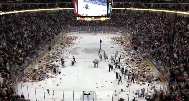 The Hershey Bears set a Teddy Bear Toss record over the weekend thanks to generous fans. (Screenshot: Hershey Bears/Great Save Productions)