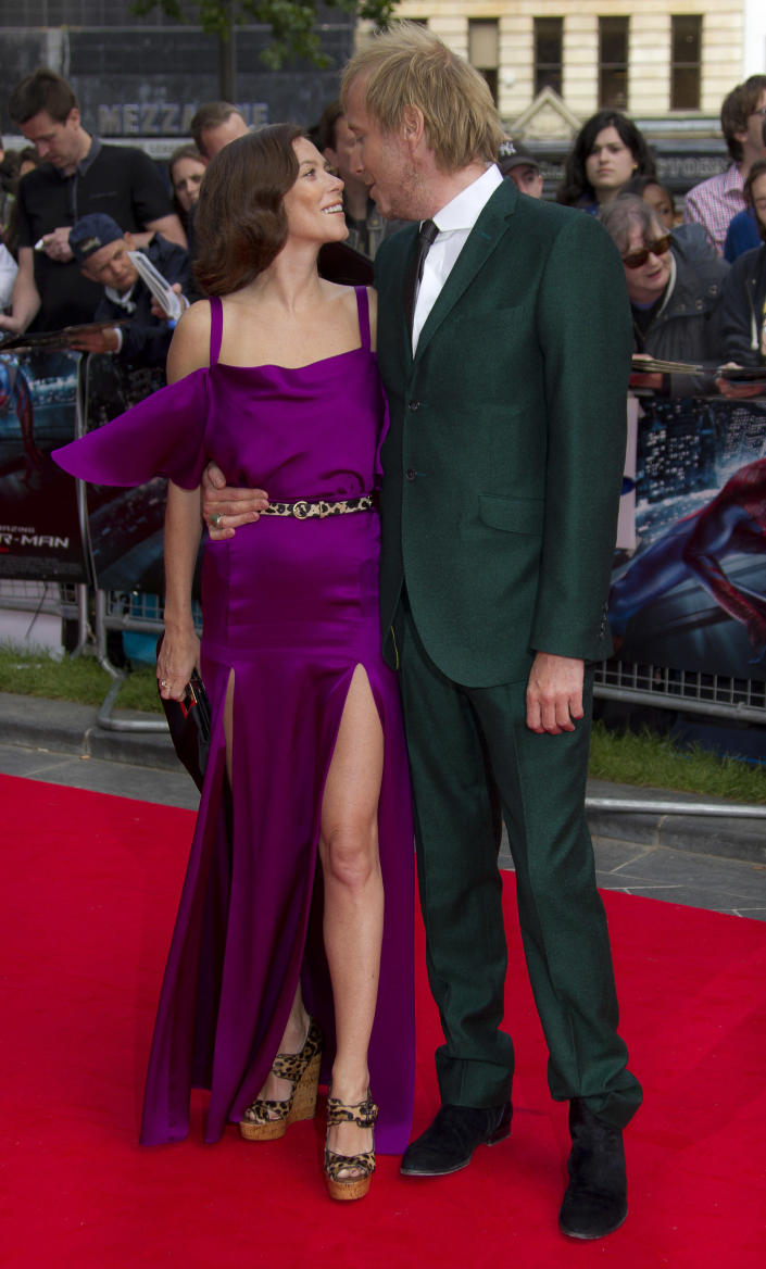 British actors Anna Friel and Rhys Ifans arrive for the UK premiere of The Amazing Spider-Man at a central London cinema, Monday, June 18, 2012. (AP Photo/Joel Ryan)