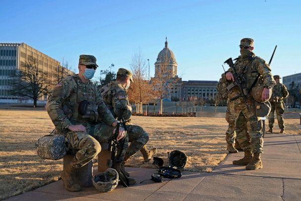 PHOTO: Oklahoma National Guard is stationed on the mostly empty grounds around the state Capitol, Jan. 17, 2021, in Oklahoma City. (Sue Ogrocki/AP)