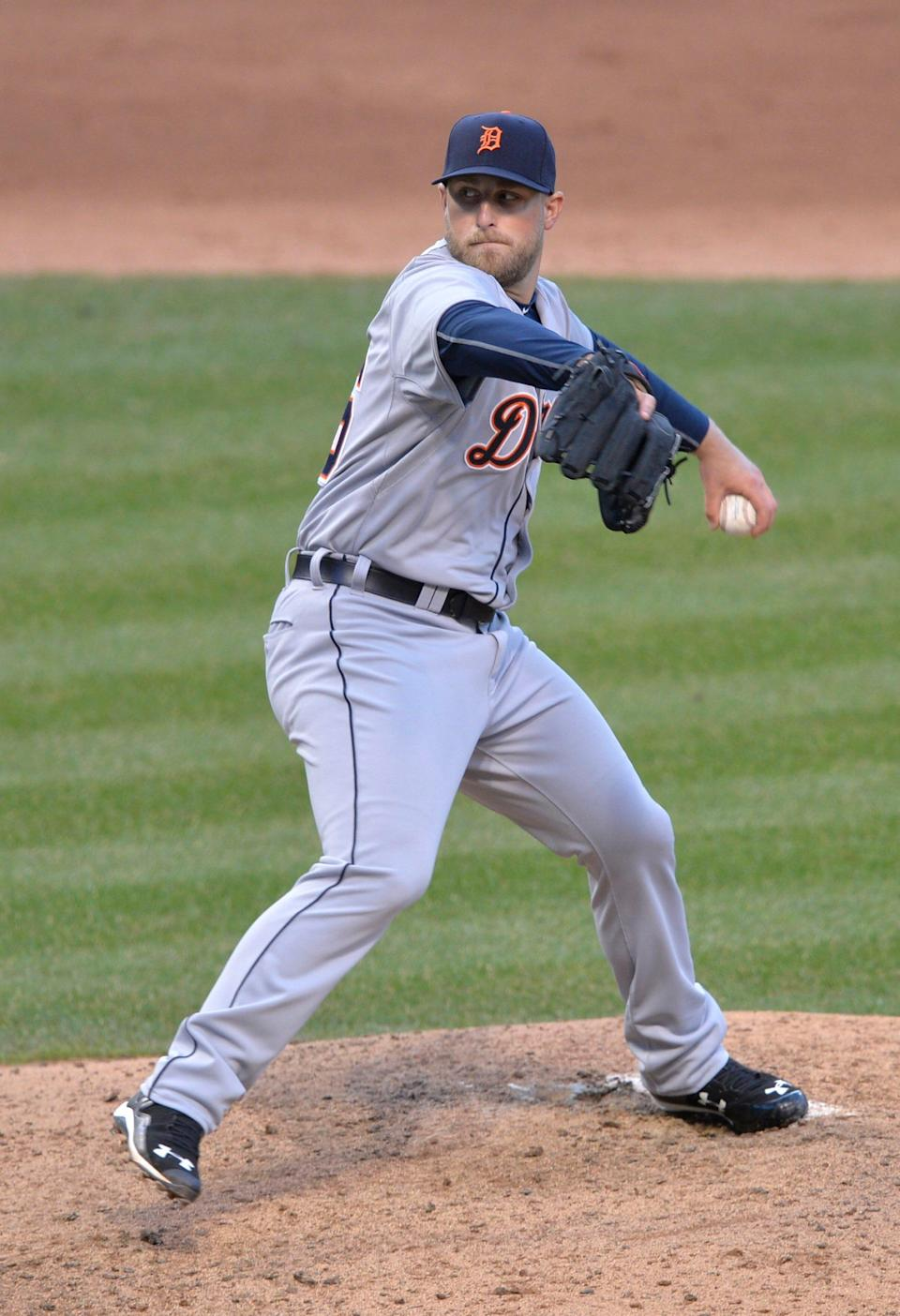 Detroit Tigers relief pitcher Ian Krol delivers in the eighth inning against the Cleveland Indians at Progressive Field.