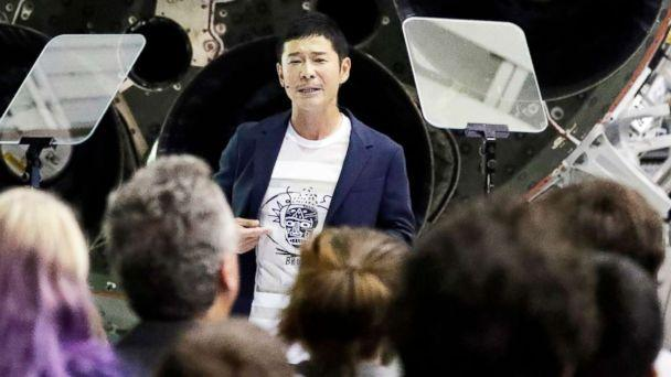 PHOTO: Japanese billionaire Yusaku Maezawa speaks after SpaceX founder and chief executive Elon Musk announced him as the person who would be the first private passenger on a trip around the moon, Sept. 17, 2018, in Hawthorne, Calif. (Chris Carlson/AP, FILE)