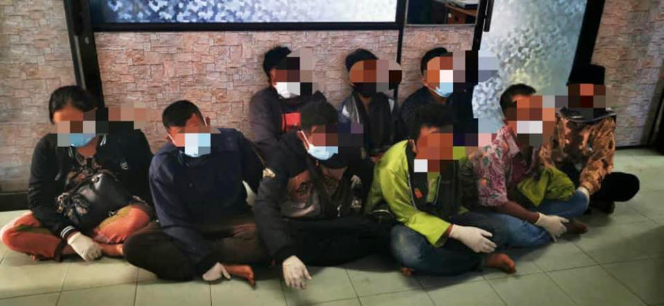 The undocumented Indonesian migrants who were arrested by police in Pantai Sungai Kuali in Permas, Pontian, April 6, 2021. — Picture courtesy of the Region Two Marine Police Force