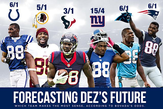 Here is how Bovada set the odds of Dez Bryant landing with these teams for the 2018 season. (Amber Matsumoto/Yahoo Sports)