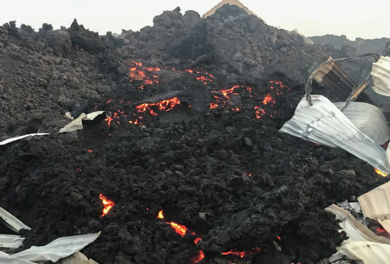 Smouldering lava deposited by the eruption of Mount Nyiragongo volcano is seen near Goma