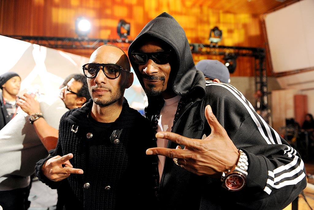 "Many hip-hop artists like producer/rapper Swiss Beatz and Snoop Dogg participated in the star-studded session. Kevin Mazur/<a href=""http://www.wireimage.com"" target=""new"">WireImage.com</a> - February 1, 2010"