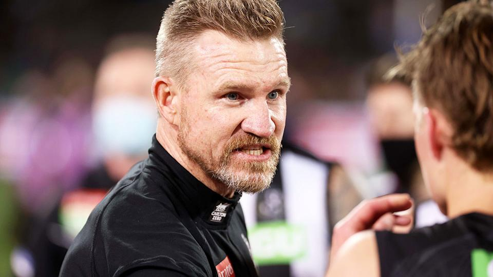Nathan Buckley, pictured here during Collingwood's win over Adelaide Crows.