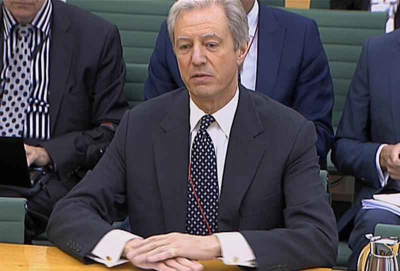 This video image made available by the Parliamentary Recording Unit, shows Barclays chairman Marcus Agius giving evidence to the Treasury Select Committee in Portcullis House, London, Tuesday July 10, 2012. The bank's outgoing chairman, Marcus Agius, in his testimony to the House of Commons Treasury Committee, said Diamond had waived a potential 20 million pounds ($31 million) in bonuses and share awards. Agius added that as part of the resignation deal, Diamond will receive 12 months' salary and pension contributions worth 2 million pounds. (AP Photo/Parliamentary Recording Unit)