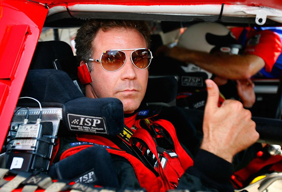 <em>Actor Will Ferrell gives a thumbs up before taking a lap with Wally Dallenbach Jr. in the pace car at Chicagoland Speedway (Rusty Jarrett/Getty Images for NASCAR),</em>