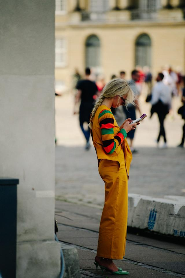 Street style during Copenhagen Fashion Week on Tuesday, August 6th, 2019. Photograph by Adam Katz Sinding for W Magazine.