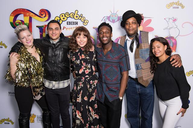 """(L-R) Zoe Pocock, Ben Cajee, Evie Pickerill, Ryan Russell, Danny Sebastian and Aimee Campbell attend the CBeebies Children in Need """"Thumbelina"""" premiere, 2018. (Photo by Jeff Spicer/Getty Images)"""