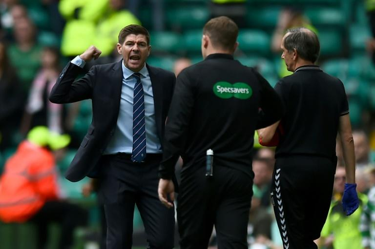 Steven Gerrard was furious at the officials for not awarding a foul in the build-up to Celtic's opener