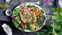 "If it looks good at the market, it will be good in this salad. <a href=""https://www.bonappetit.com/recipe/grilled-halibut-nicoise-with-market-vegetables?mbid=synd_yahoo_rss"" rel=""nofollow noopener"" target=""_blank"" data-ylk=""slk:See recipe."" class=""link rapid-noclick-resp"">See recipe.</a>"