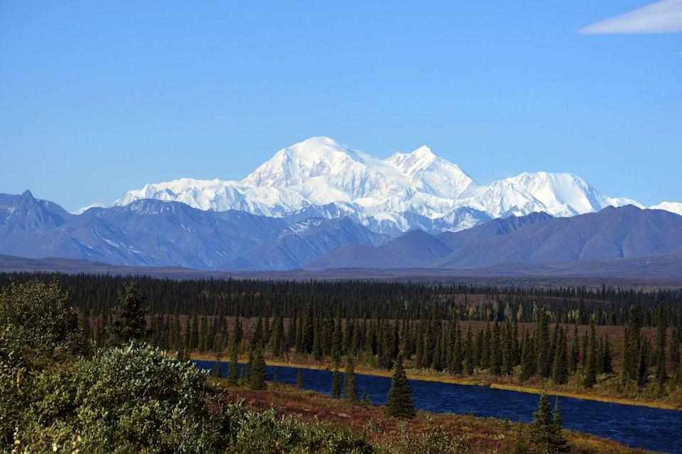 <p>The sky is completely clear over the Denali Mountain, formerly known as Mt. McKinley, at the Denali National Park in Alaska // September 1, 2015</p>