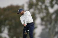 Francesco Molinari, of Italy, plays his shot from the first tee during the first round of the U.S. Open Golf Championship, Thursday, June 17, 2021, at Torrey Pines Golf Course in San Diego. (AP Photo/Gregory Bull)