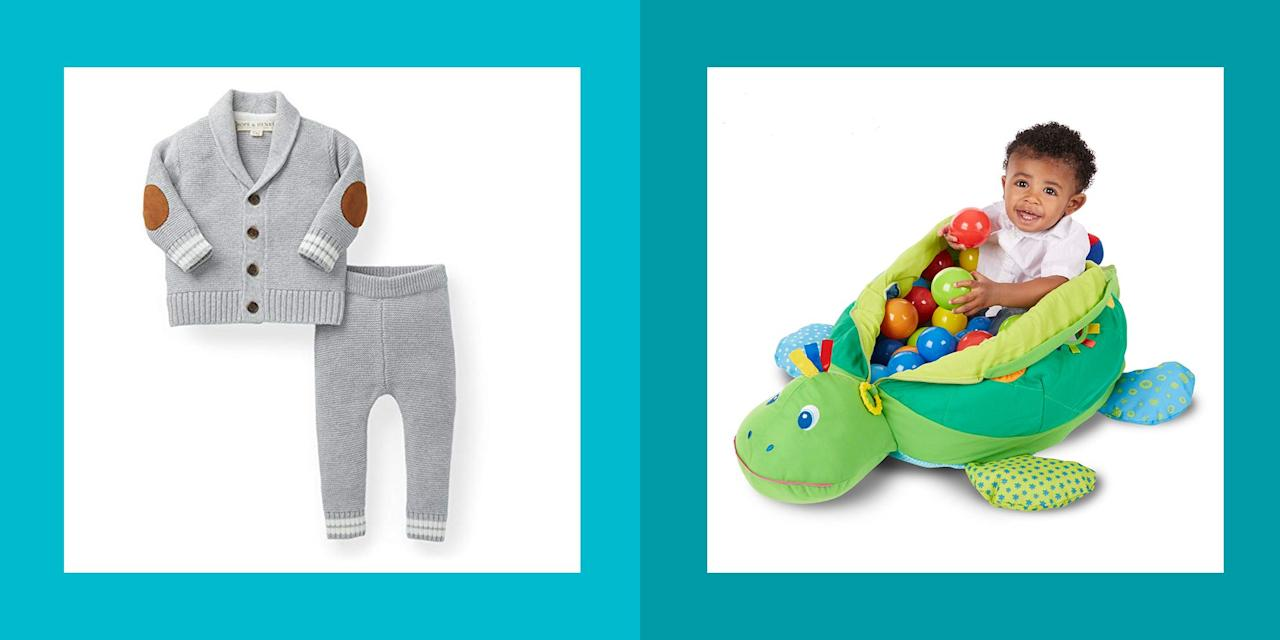 """<p>There's no greater joy than giving presents to the people you love — especially when they're adorable, pint-size baby boy gifts. But once the <a href=""""https://www.womansday.com/life/g25240748/best-baby-shower-ideas/"""" target=""""_blank"""">beautiful baby shower</a> is over and all the classic registry essentials are snatched up, it can be difficult to know what <a href=""""https://www.womansday.com/life/g28408945/unique-baby-gifts/"""" target=""""_blank"""">unique gift</a> to get moving forward, whether it's for a birthday or just because. What gifts will help overwhelmed new parents <em>and</em> convey how much love you have for this amazing baby and his family? Do those kinds of presents even exist? </p><p>Of course they do, but the amount of options can make even the most well-meaning and seasoned gift givers feel overwhelmed. That's why we put together this list of fun ideas — from enriching toys to quality clothes to skincare essentials —  that are practical yet feel thought-out and special. Plus, everything is super cute, because you want people to <em>awwww</em> when they open the box, right? Just pick from our list and call it a day — no one has to know how easy it was to find them.</p>"""