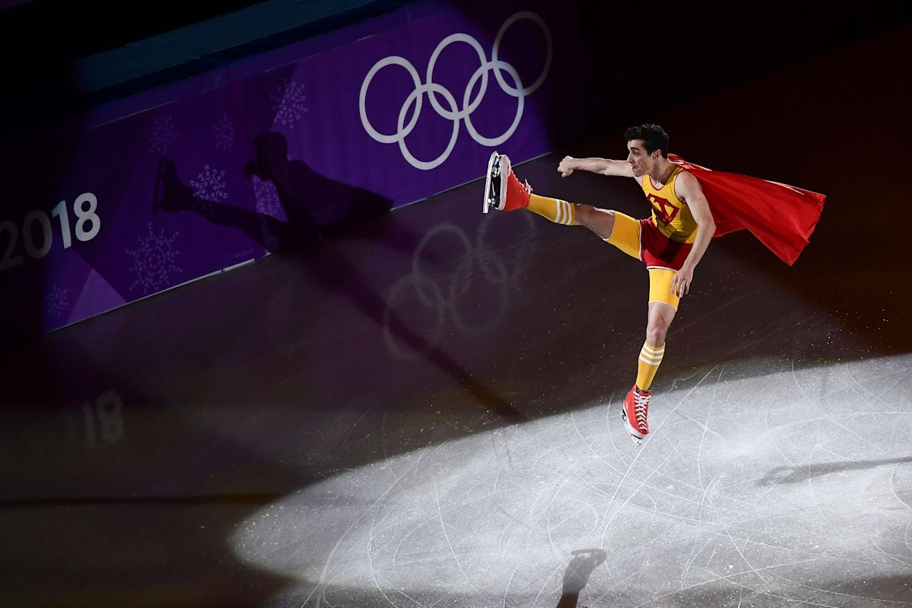 <p>Spain's Javier Fernandez performs during the figure skating gala event during the Pyeongchang 2018 Winter Olympic Games at the Gangneung Oval in Gangneung on February 25, 2018. / AFP PHOTO / ARIS MESSINIS (Photo credit should read ARIS MESSINIS/AFP/Getty Images) </p>