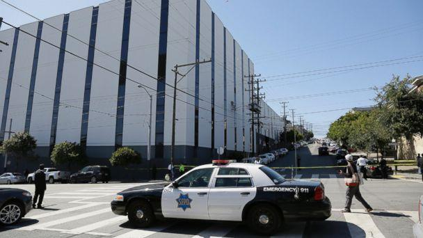 PHOTO: A San Francisco police car blocks a roadway outside a UPS package delivery warehouse where a shooting took place Wednesday, June 14, 2017, in San Francisco. (Eric Risberg/AP)
