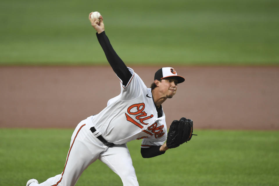 Baltimore Orioles starting pitcher Spenser Watkins throws during the second inning of a baseball game against the Los Angeles Angels, Tuesday, Aug. 24, 2021, in Baltimore. (AP Photo/Terrance Williams)